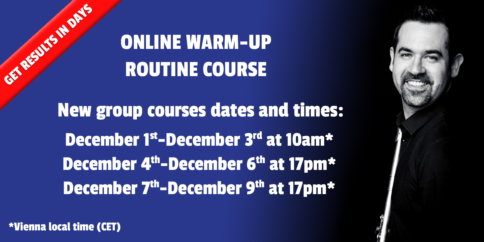 Warm-up courses dates and times